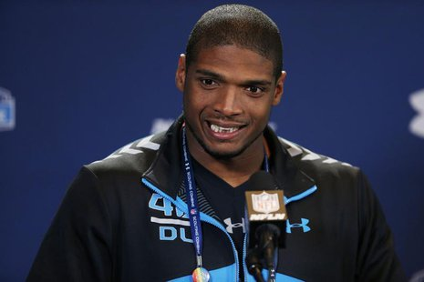 Feb 22, 2014; Indianapolis, IN, USA; Missouri Tigers defensive end Michael Sam speaks to the media in a press conference during the 2014 NFL