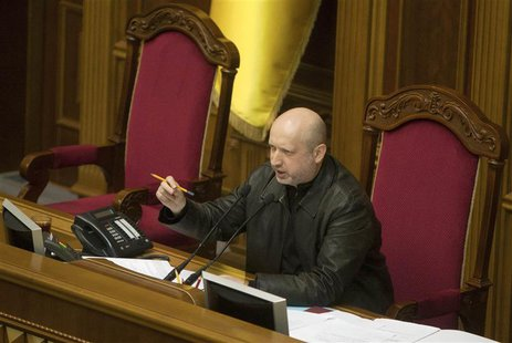 Newly elected speaker of parliament Oleksander Turchynov attends a session of the Ukrainian parliament in Kiev February 22, 2014. REUTERS/Al
