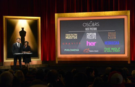 Actor Chris Hemsworth (L) and Academy of Motion Picture Arts and Sciences President Cheryl Boone Isaacs announce the nominees for Best Pictu