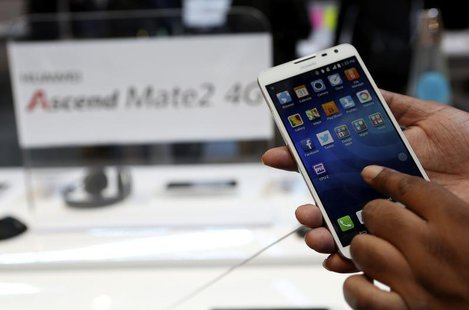 The Huawei Ascend Mate2 4G mobile telephone with an Android operating system is shown at the annual Consumer Electronics Show (CES) in Las V