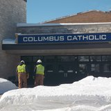 Marshfield Columbus High School -  Utility workers during water main break