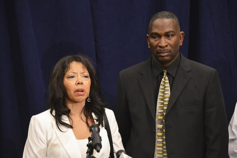 In a post-verdict press conference, Jordan Davis' parents, Lucia McBath and Ronald Davis speak to the media in Jacksonville, Florida Februar