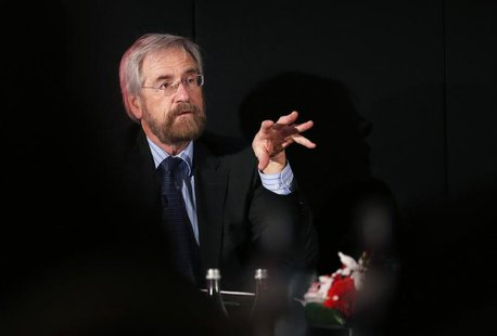 European Central Bank Executive Board member Peter Praet speaks during a meeting organised by The Economist in Cascais February 18, 2014. RE