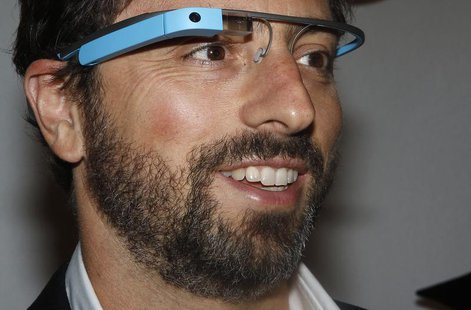 Google founder Sergey Brin poses for a portrait wearing Google Glass glasses before the Diane von Furstenberg Spring/Summer 2013 collection