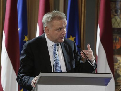 Vice-President of the European Commission Olli Rehn speaks during the event hosted in honour of the Euro introduction in Latvia in Riga Janu