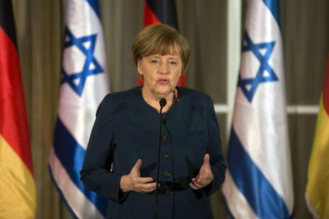 German Chancellor Angela Merkel speaks during her meeting with Israeli Prime Minister Benjamin Netanyahu at the Prime minister's residence i