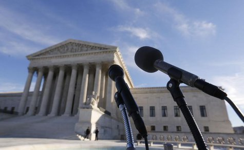 Microphones are set up for attorneys in front of the U.S. Supreme Court for them to talk after delivering oral arguments in a U.S. REUTERS/L