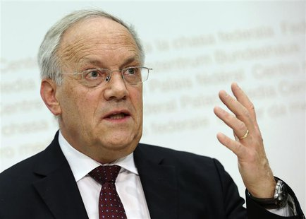 Swiss Economy Minister Johann Schneider-Ammann attends a news conference in Bern February 25, 2014. REUTERS/Thomas Hodel