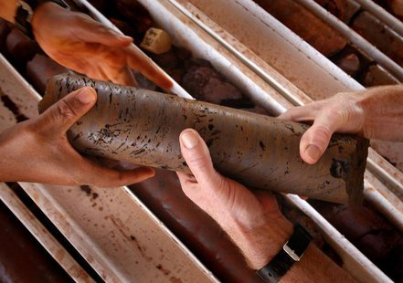 An iron ore core sample is handled at a prospective mine near Port Hedland, Australia, May 26, 2008. REUTERS/Tim Wimborne""