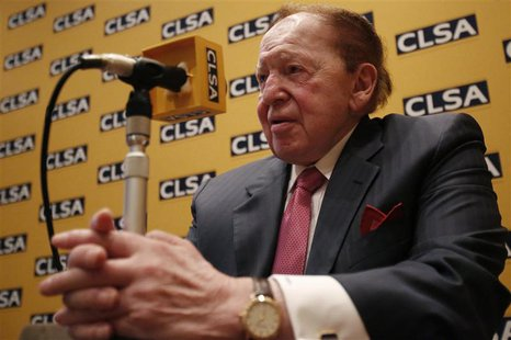 Las Vegas Sands Corp Chairman and Chief Executive Officer Sheldon Adelson attends a news conference in Tokyo in this February 24, 2014 file