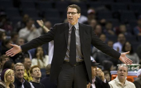 Kiki Vandeweghe questions a call against the Charlotte Bobcats during an NBA basketball game in Charlotte, North Carolina February 16, 2010.