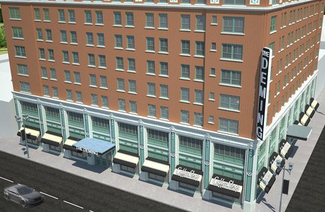Deming Hotel Renovation artist rendering provided by Core Redevelopment