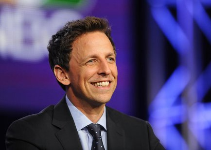 "Host Seth Meyers takes part in a panel discussion about ""Late Night with Seth Meyers"" at the NBC portion of the 2014 Winter Press Tour for t"