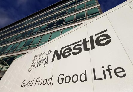 The Nestle logo is pictured on a truck outside the company's headquarters before the nine-month sale figures news conference in Vevey Octobe