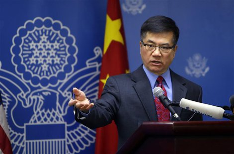 U.S. Ambassador Gary Locke answers a question after his farewell speech at Beijing American Center in Beijing February 26, 2014. REUTERS/Jas