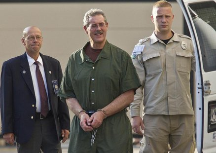 Convicted financier Allen Stanford, who faces up to 230 years in prison for his $7 billion Ponzi scheme, arrives at Federal Court in Houston