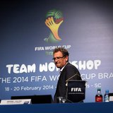 FIFA Secretary General Jerome Valcke arrives to speak about the status of the host city Curitiba ahead of the 2014 FIFA World Cup in Florian