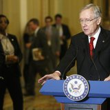 U.S. Senate Majority Leader Harry Reid (D-NV) addresses reporters at the U.S. Capitol in Washington, February 4, 2014. REUTERS/Jonathan Erns
