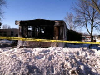 A view of the trailer following the fire on Cheyenne Drive February 26, 2014