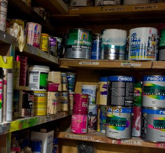 Some cans of paint.