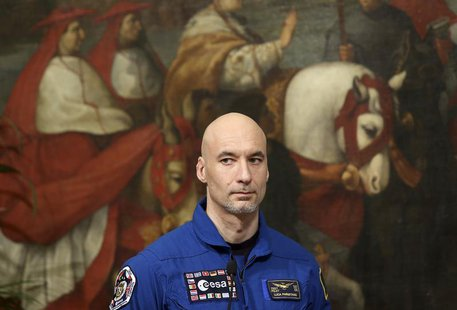 Italian astronaut Luca Parmitano attends a meeting with Prime Minister Enrico Letta (unseen) at Chigi palace in Rome, December 11, 2013. REU