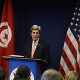 U.S. Secretary of State John Kerry speaks during a news conference in Tunis February 18, 2014. REUTERS/Zoubeir Souissi