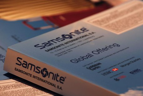 Brochures for Samsonite's global offering are shown during a news conference in Hong Kong June 2, 2011. REUTERS/Bobby Yip