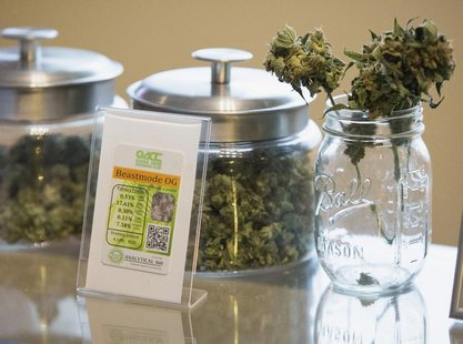 "Jars of the marijuana strain called ""Beast Mode OG"", named after NFL player Marshawn ""Beast Mode"" Lynch of the Seattle Seahawks, are picture"