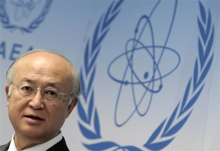 International Atomic Energy Agency (IAEA) Director General Yukiya Amano reacts as he attends a news conference during a board of governors m