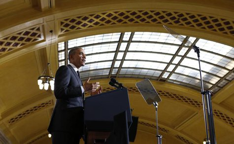 U.S. President Barack Obama speaks at Union Depot in St. Paul, Minnesota February 26, 2014. REUTERS/Kevin Lamarque