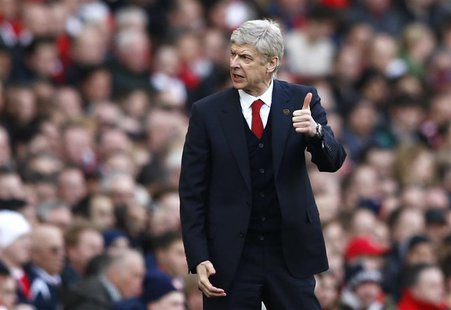 Arsenal's manager Arsene Wenger gestures during their English Premier League soccer match against Sunderland at the Emirates Stadium in Lond