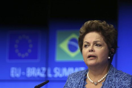 Brazil's President Dilma Rousseff speaks at a joint news conference with European Council President Herman Van Rompuy and EU Commission Pres