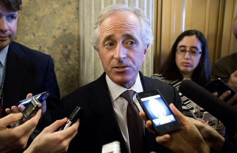 Senator Bob Corker (R-TN) speaks to reporters during the 14th day of the partial government shut down in Washington on October 14, 2013. REU