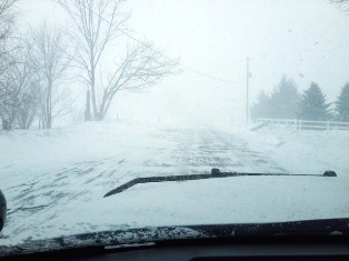 Whiteout conditions on Block Road, south of Coldwater, February 27, 2014