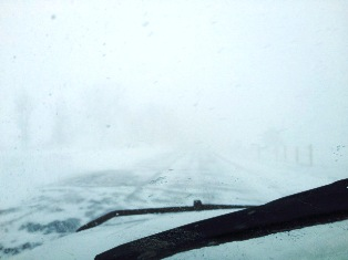 Blowing snow caused near whiteout conditions on Block Road south of Coldwater February 27, 2014