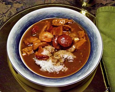 A bowl of gumbo.