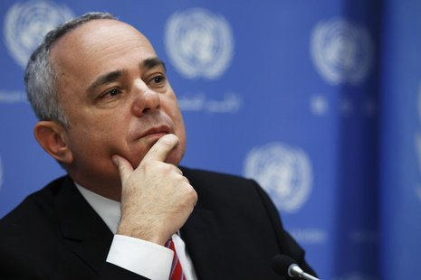 Minister of Strategic and Intelligence Affairs for International Relations of Israel Yuval Steinitz attends a news conference after a meetin