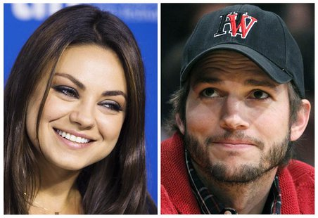 Mila Kunis (L), seen at the Toronto Film Festival on September 10, 2013 and Ashton Kutcher, seen at an LA Lakers game in Los Angeles May 1,