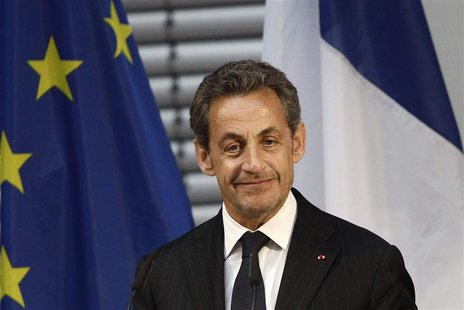 Former French President Nicolas Sarkozy pauses during his speech at an event hosted by the Konrad-Adenauer foundation in Berlin February 28,