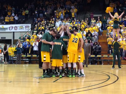 The Bison men's basketball team won the Summit League regular season title with a 82-54 victory over the University of South Dakota at the Bison Sports Arena on Thursday, February 27.