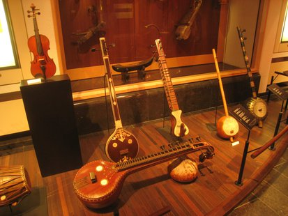 A collection of stringed instruments.
