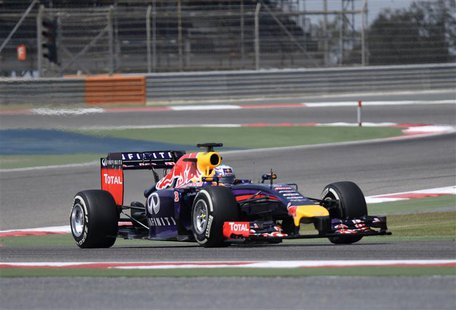 Red Bull Racing Formula One driver Sebastian Vettel of Germany test drives his car during the second Formula One testing in Bahrain Internat