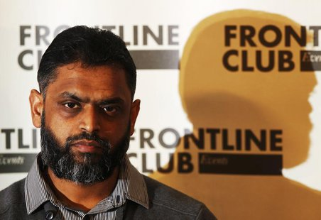 Former Guantanamo detainee Moazzam Begg attends a news conference at the Frontline Club in London January 10, 2012. Former detainees spoke a
