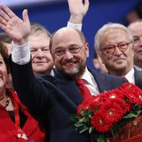 European Parliament President Martin Schulz waves during a pre-election congress of the Party of European Socialists (PES) in Rome March 1,