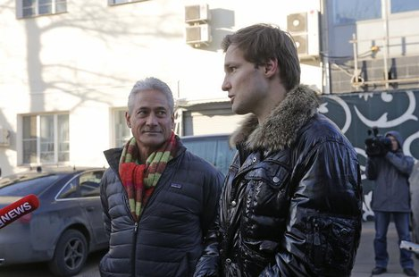 American gold medallist Olympic diver Greg Louganis (L) and Konstantin Yablotskiy, president of the Russian LGBT Sport Federation, speak to