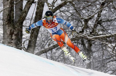 Norway's Kjetil Jansrud skis during the first run of the men's alpine skiing giant slalom event at the 2014 Sochi Winter Olympics at the Ros