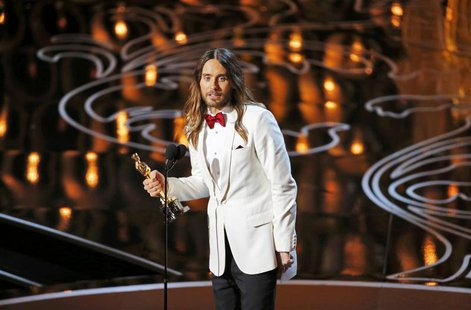 "Jared Leto, best supporting actor winner for his role in ""Dallas Buyers Club"", speaks on stage at the 86th Academy Awards in Hollywood, Cali"