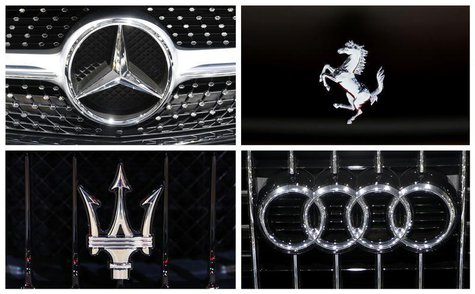 A combination photograph shows the logos of luxury cars at the European Motor Show in Brussels January 14, 2014 file photo. REUTERS/Francois