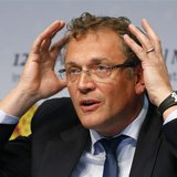 FIFA Secretary General Jerome Valcke gestures as he addresses a news conference after a meeting of the International Football Association Bo