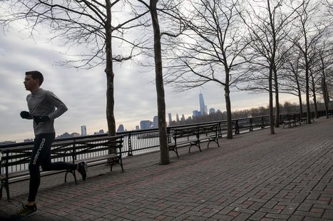 A man jogs along the waterfront in Hoboken, New Jersey January 19, 2014. REUTERS/Eric Thayer